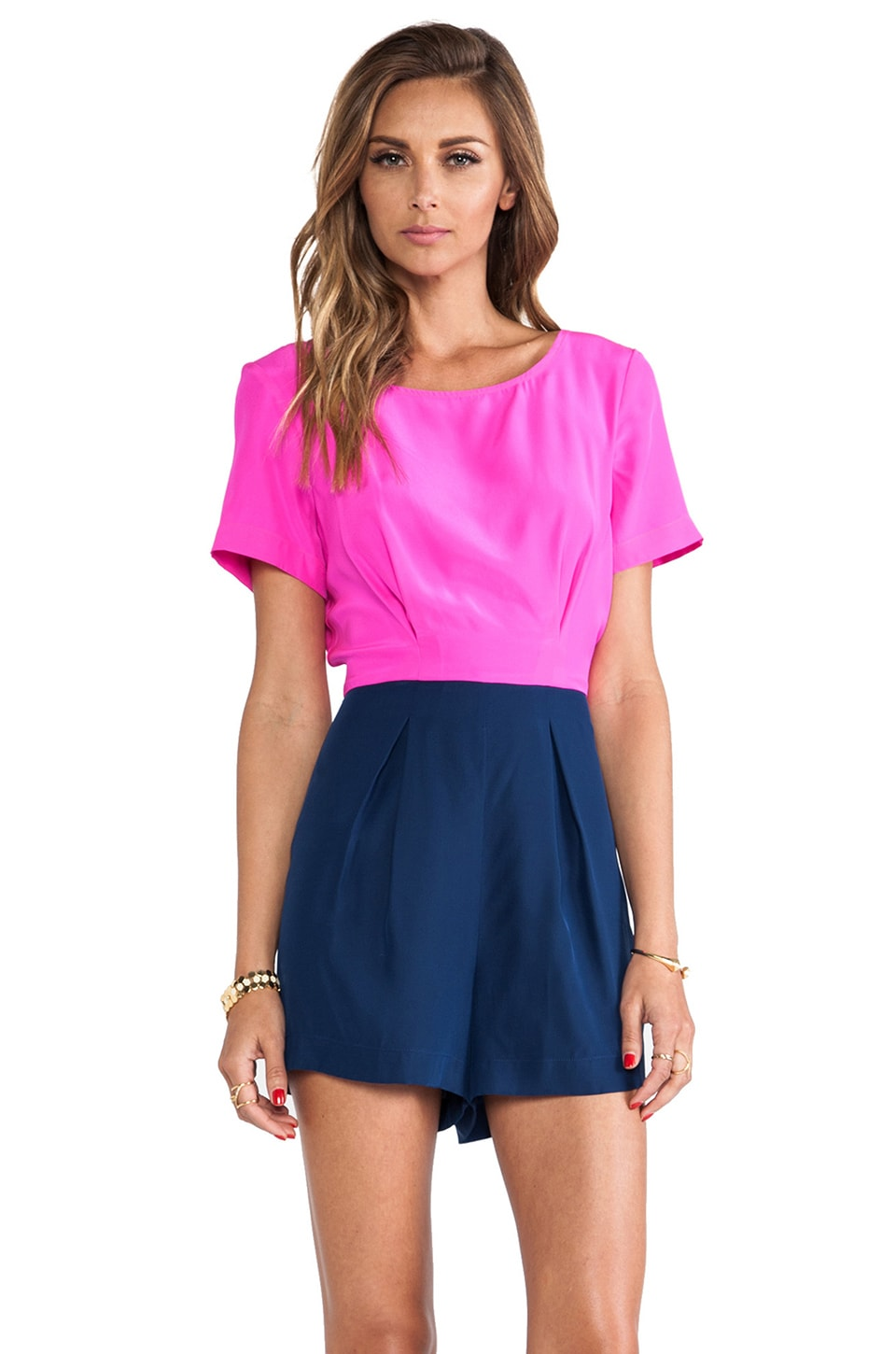 Amanda Uprichard Pleat Romper in Hot Pink & Emerson