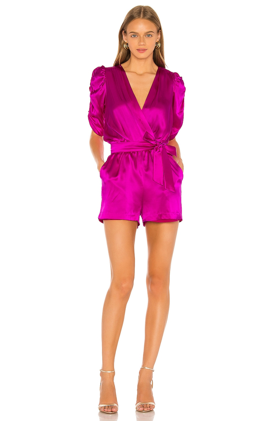 Amanda Uprichard Aidy Romper en Dark Hot Pink