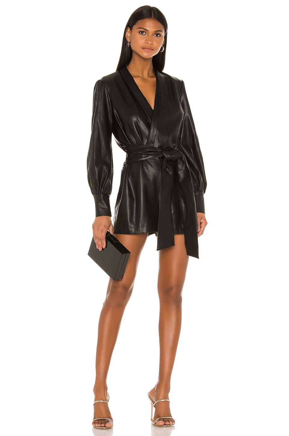 Amanda Uprichard X REVOLVE Studio Romper in Black Leather