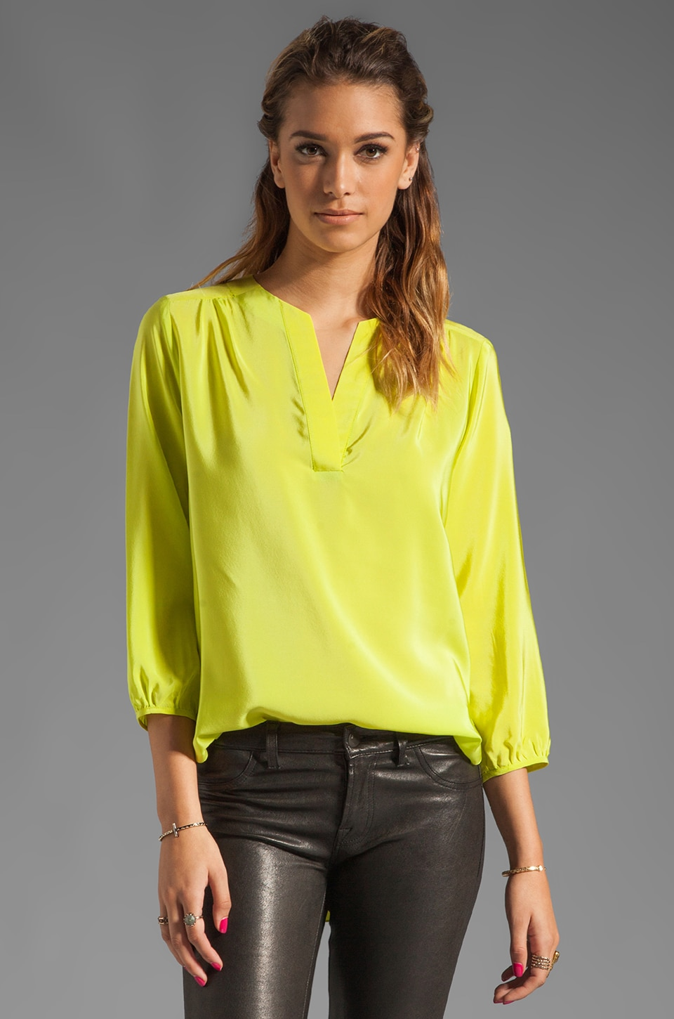 Amanda Uprichard Highliner Blouse in Lime
