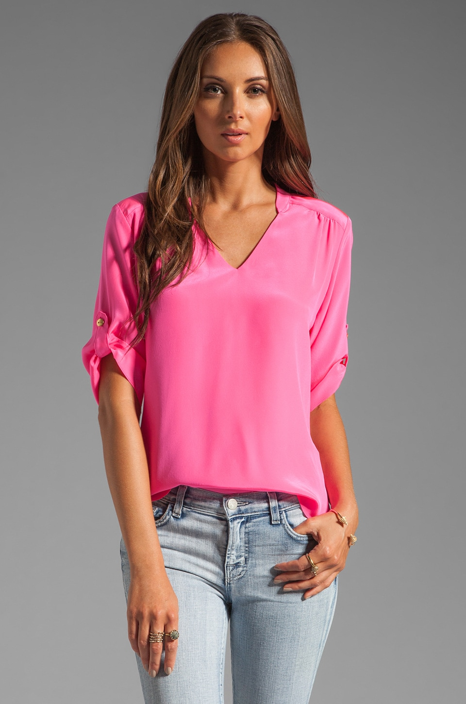 Amanda Uprichard Staci Blouse in Hibiscus