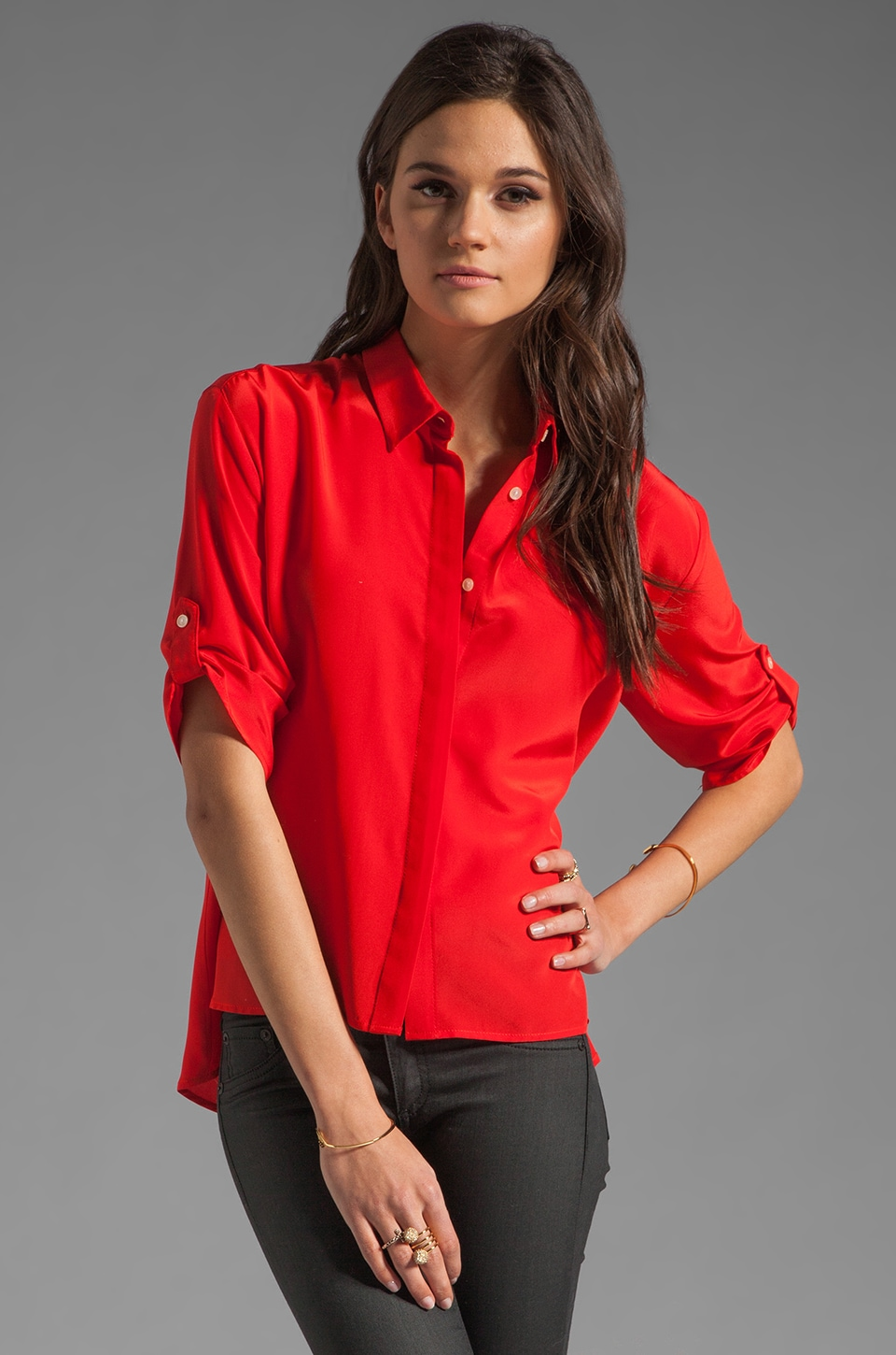Amanda Uprichard Chloe Blouse in Shrimp