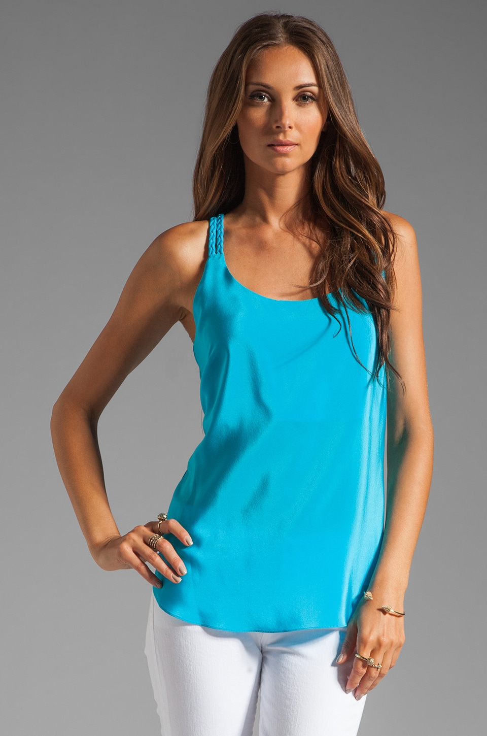 Amanda Uprichard Braid Tank in Aqua