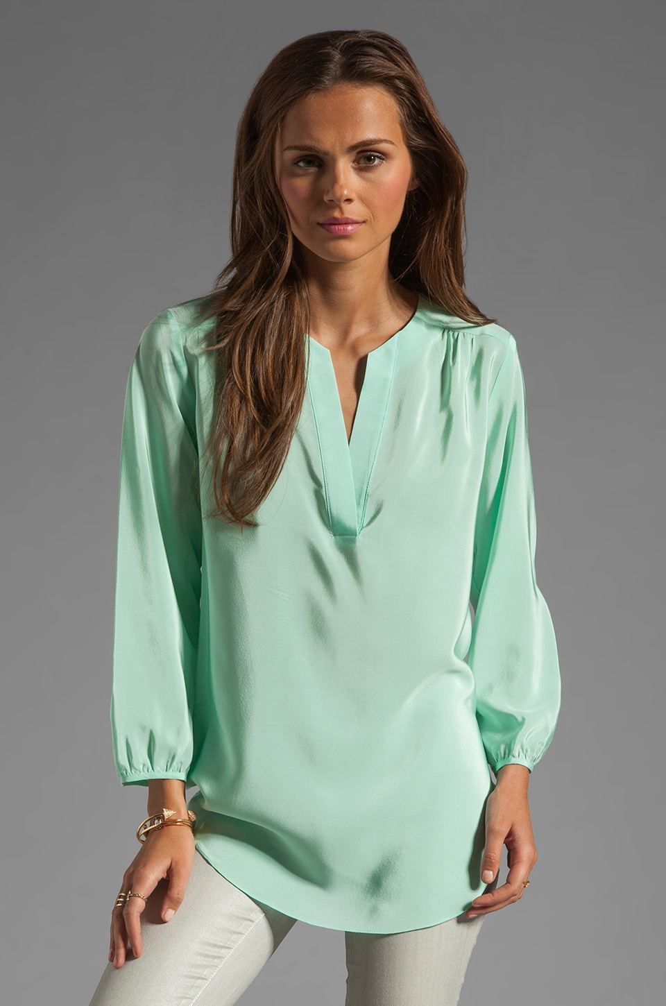 Amanda Uprichard Silk Highliner Blouse in Sherbet