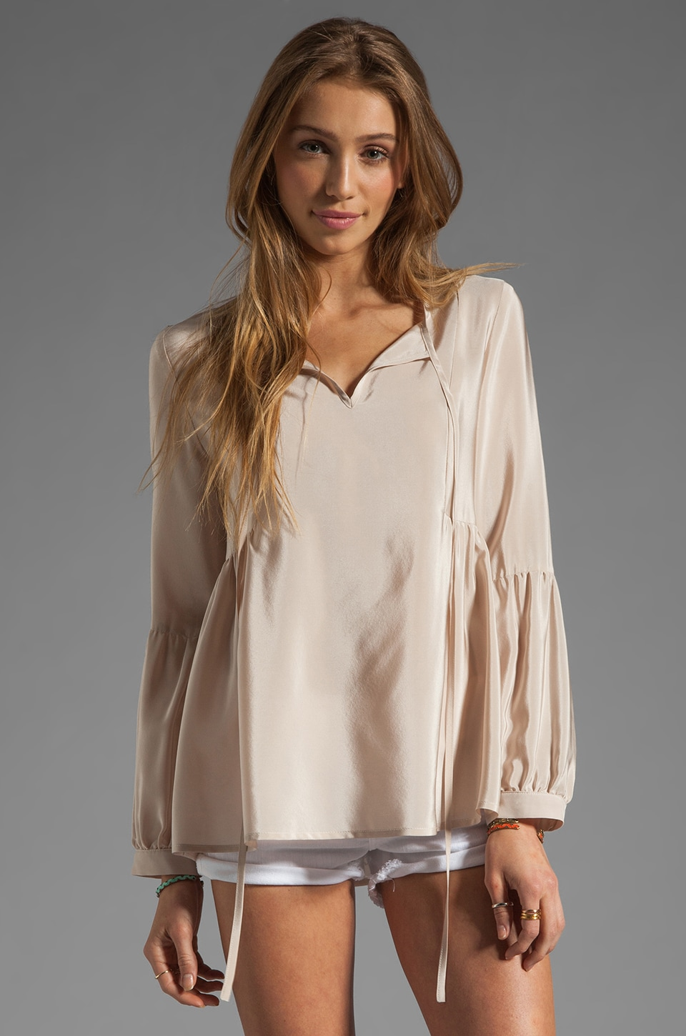 Amanda Uprichard Silk Willow Top in Bone