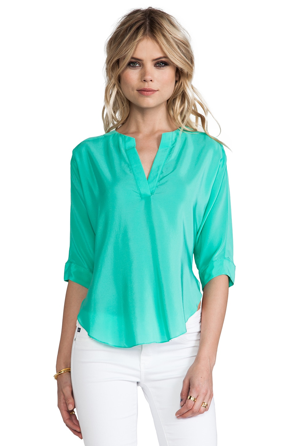 Amanda Uprichard Silk Dolman Shirt in Mint