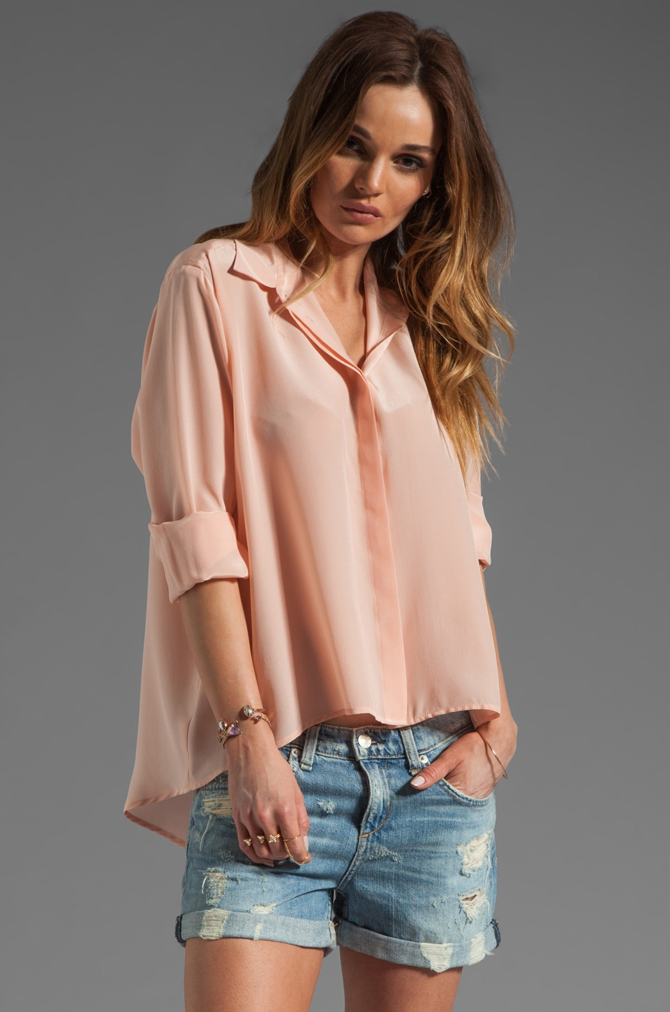 Amanda Uprichard Silk Hi-low Blouse in Ballet