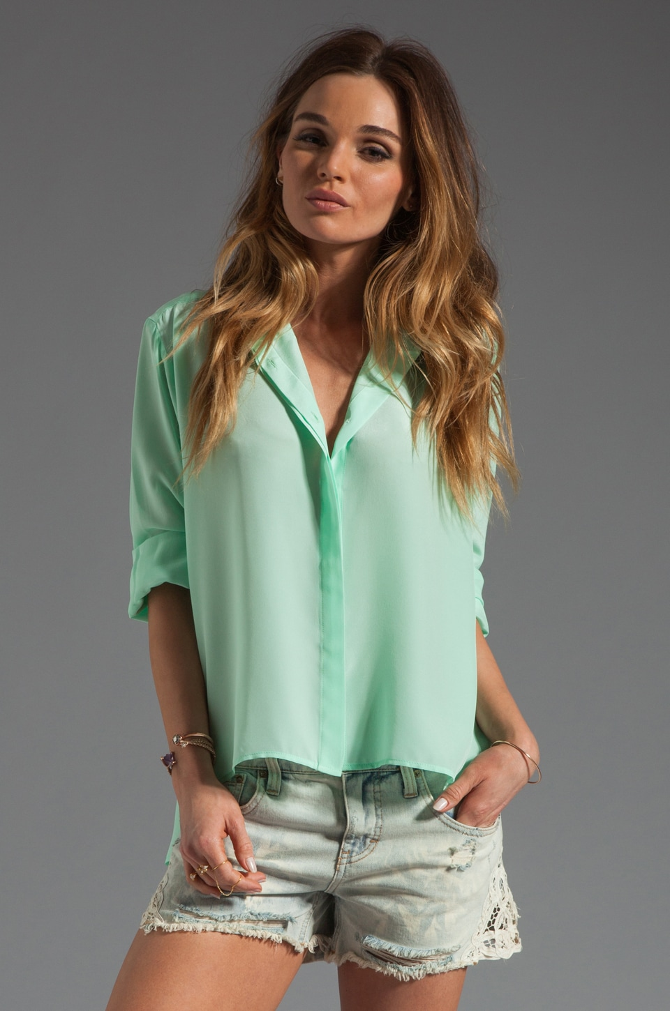 Amanda Uprichard Silk Hi-low Blouse in Sherbert