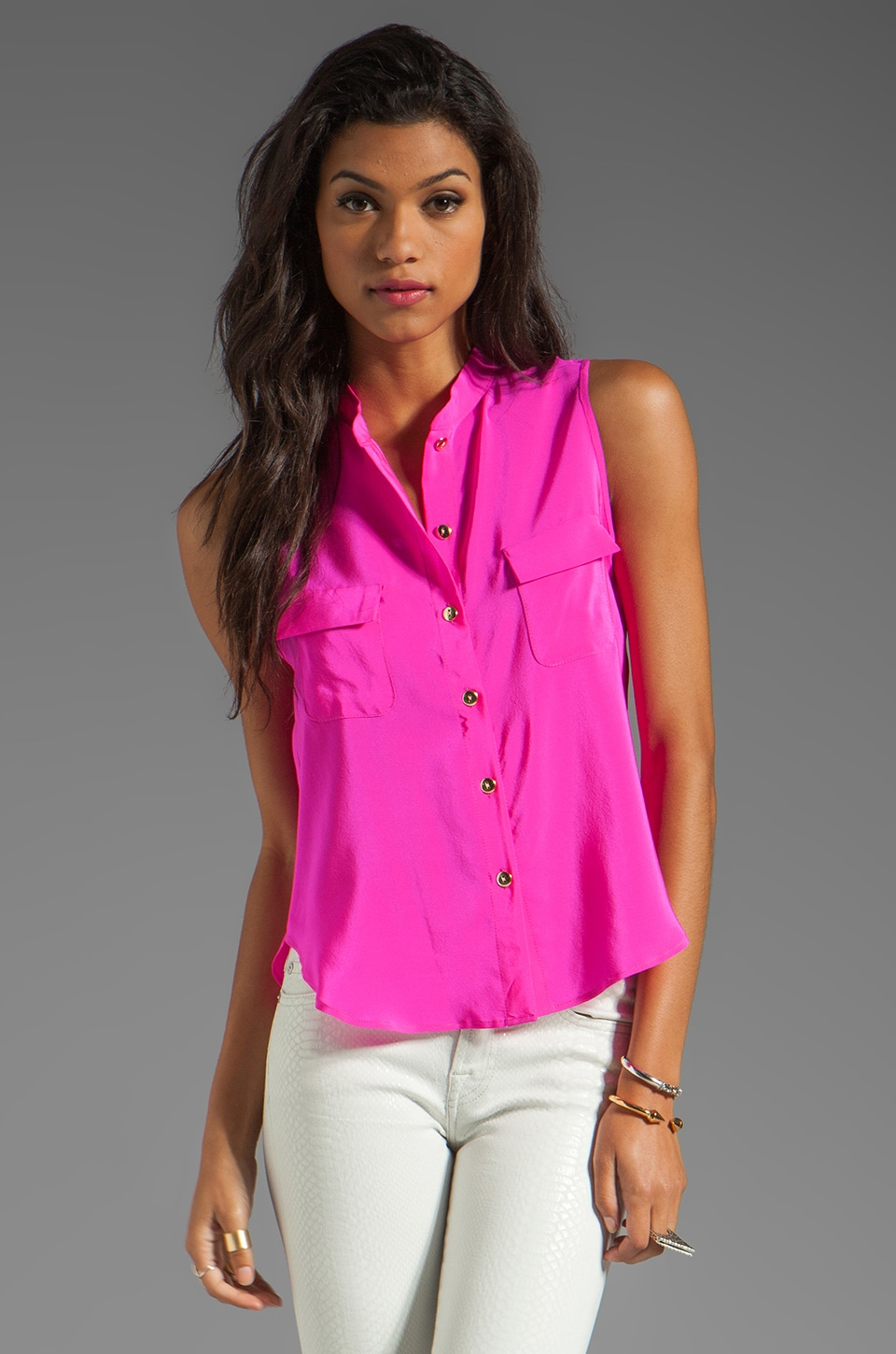 Amanda Uprichard Crop Top in Hot Pink