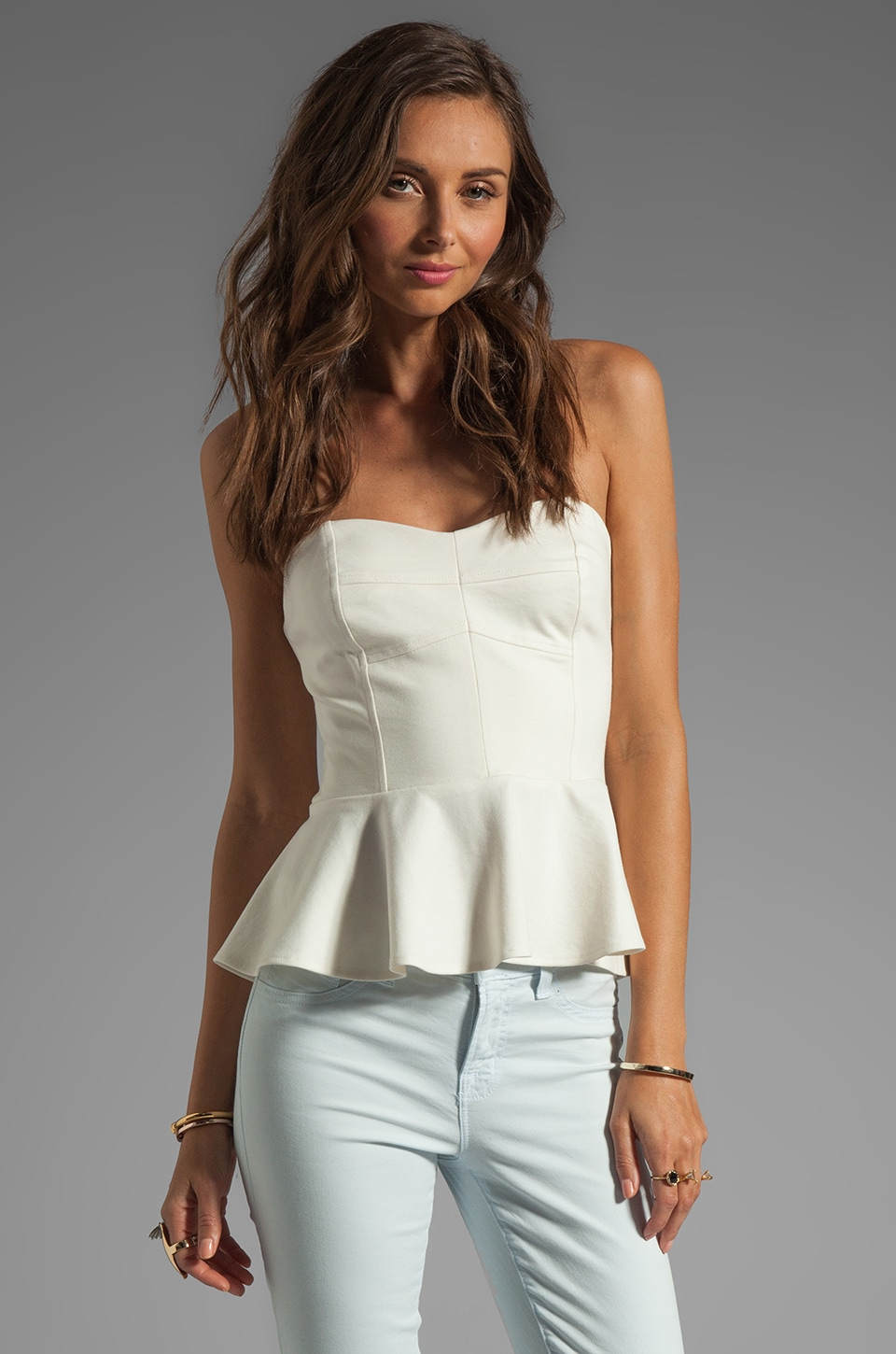 Amanda Uprichard Strapless Peplum Top in Ivory