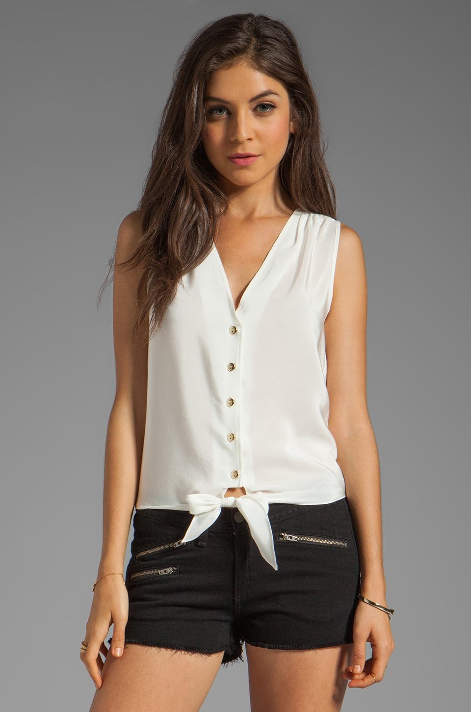 Amanda Uprichard Sleeveless Tie Front Top in Ivory
