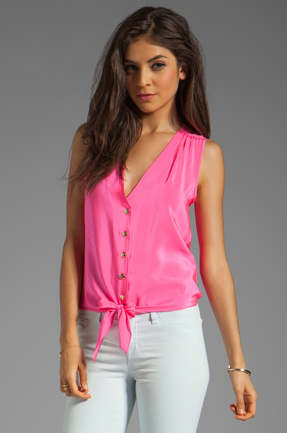 Amanda Uprichard Sleeveless Tie Front Top in Hibiscus