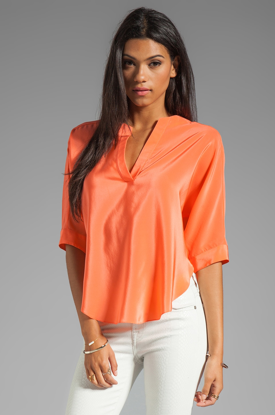 Amanda Uprichard Silk Dolman Shirt in Coral