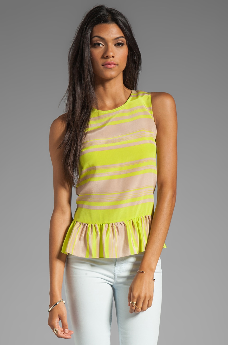 Amanda Uprichard Alyson Top in Lime Stripe