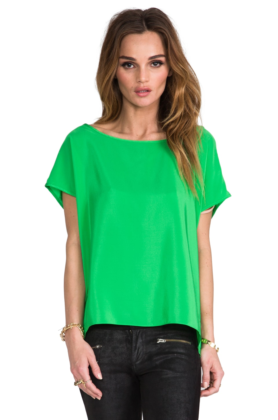 Amanda Uprichard Silk Tee in Grass