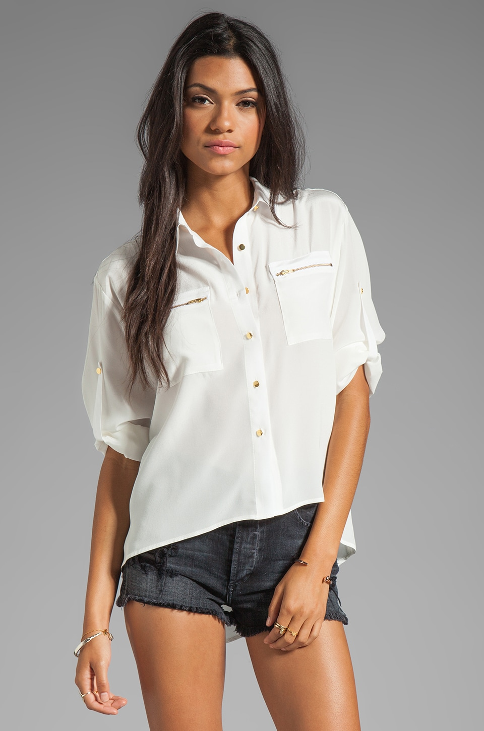 Amanda Uprichard Zip Pocket Top in Ivory
