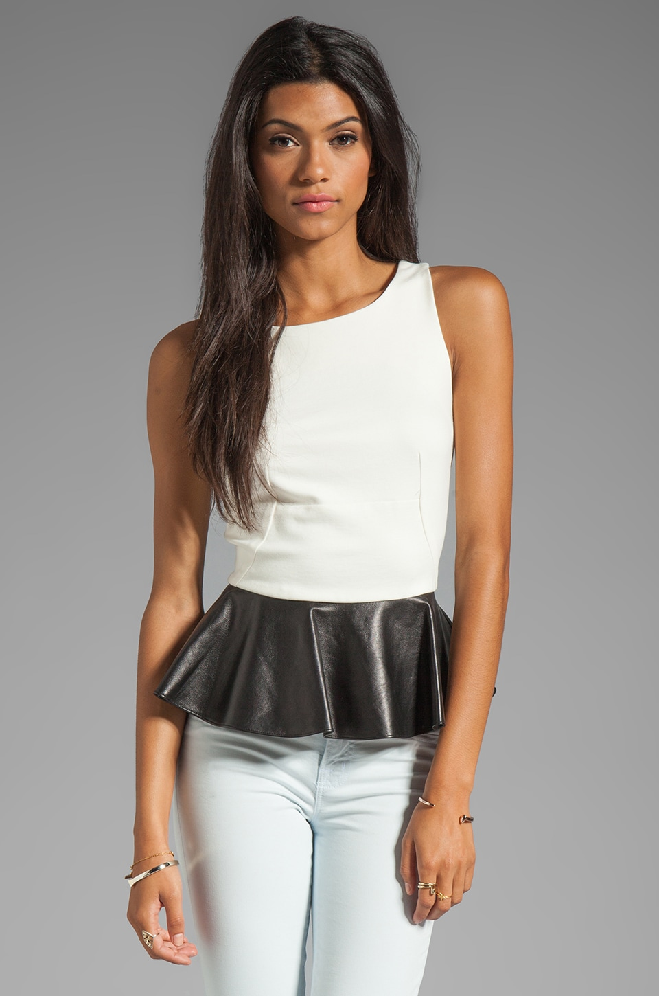 Amanda Uprichard Manhattan Top in Ivory/Black