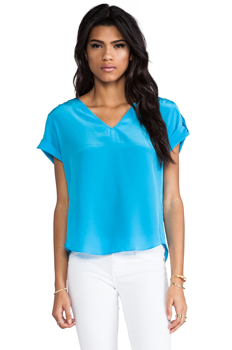 Amanda Uprichard Solid Silk Erica Top in Aqua