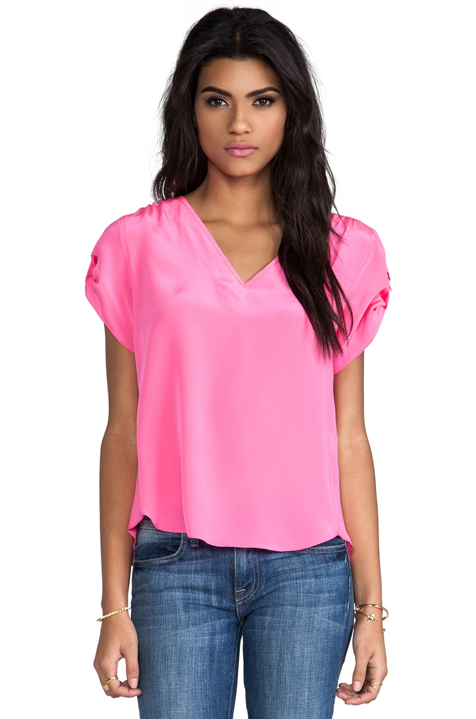 Amanda Uprichard Solid Silk Erica Top in Hibiscus