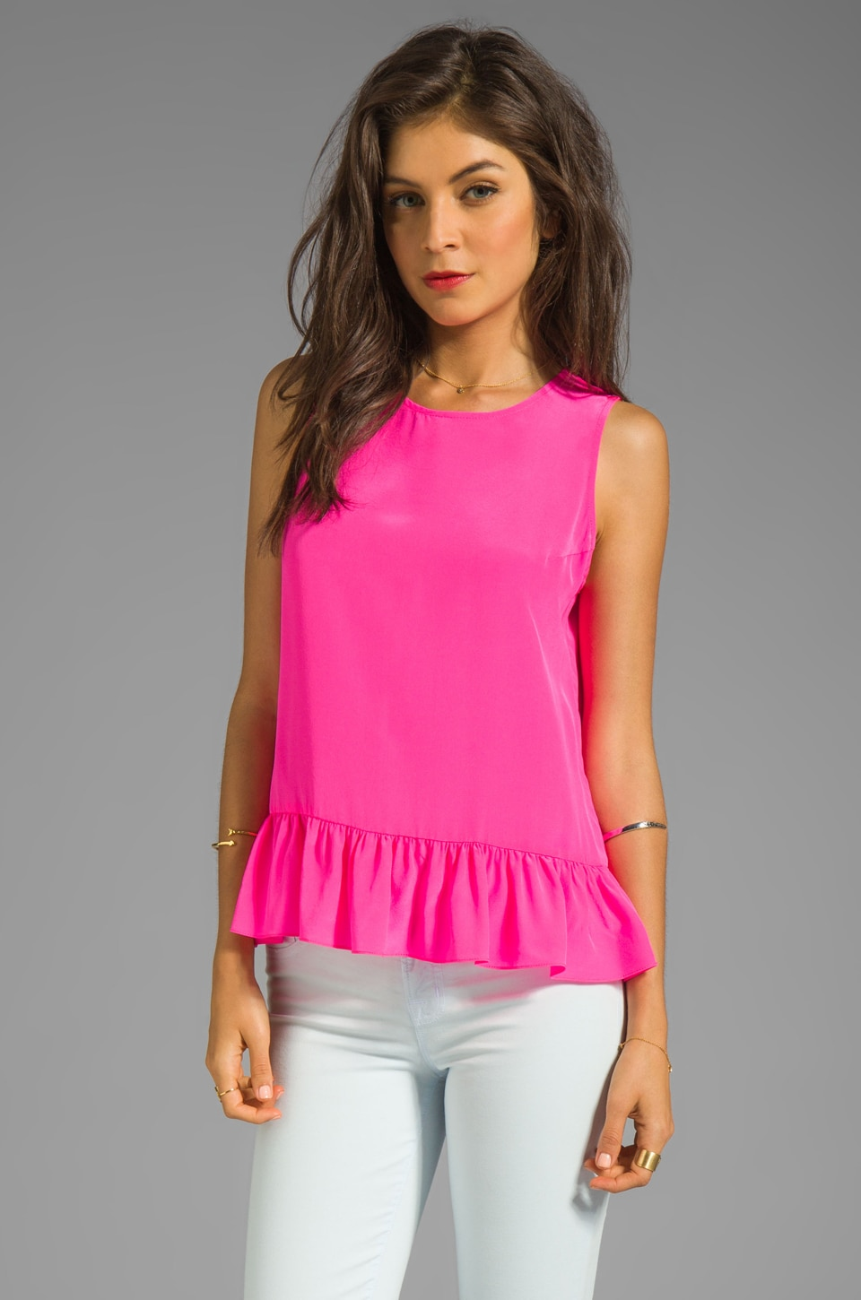 Amanda Uprichard Solid Silk Alyson Top in Hibiscus