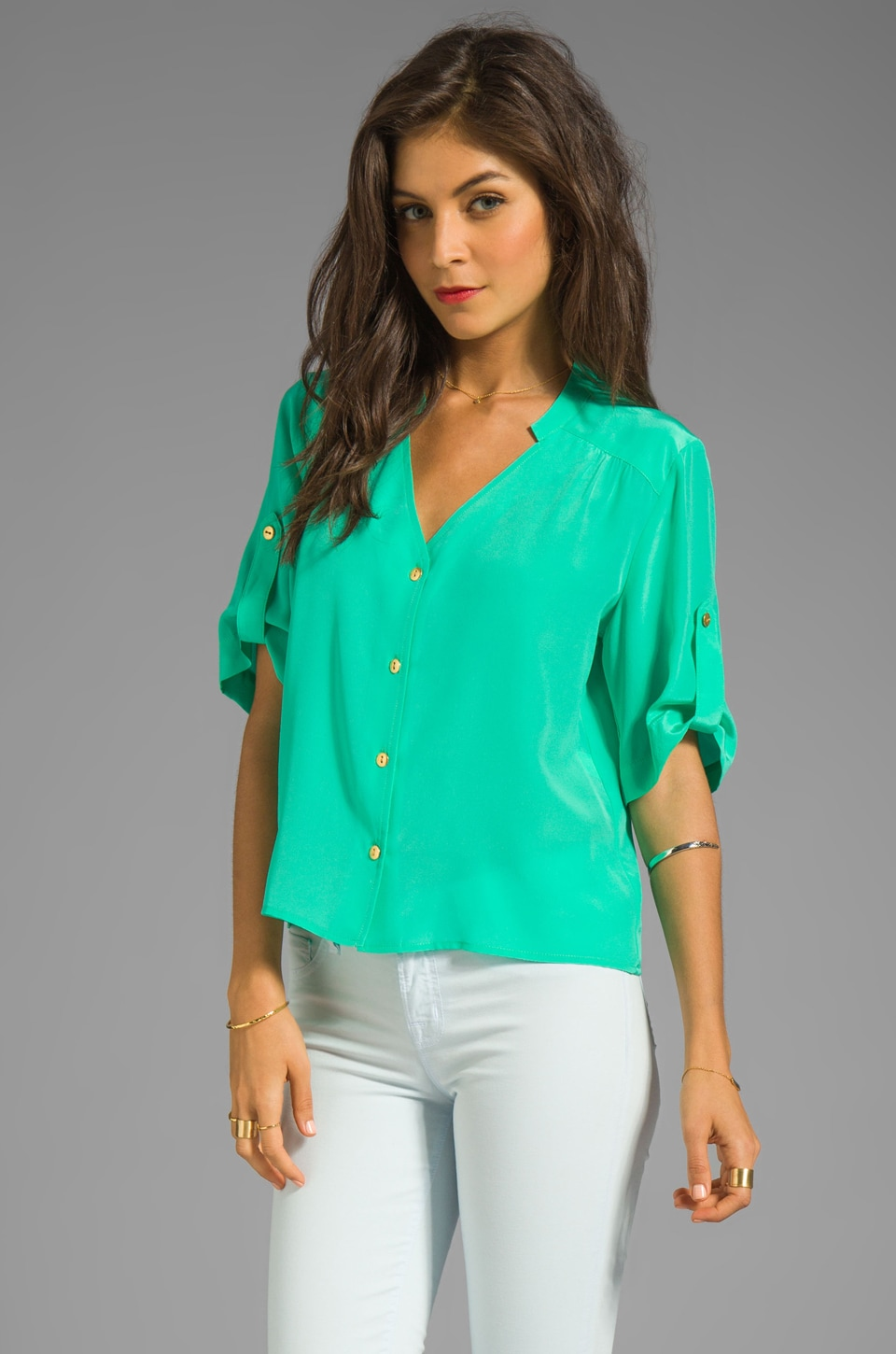 Amanda Uprichard Solid Silk Molly Top in Mint
