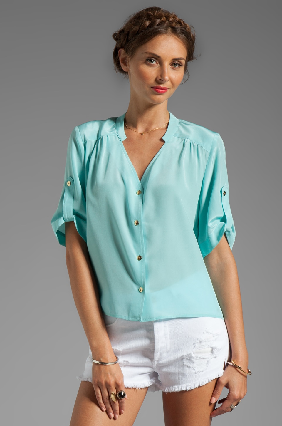 Amanda Uprichard Solid Silk Molly Top in Wave