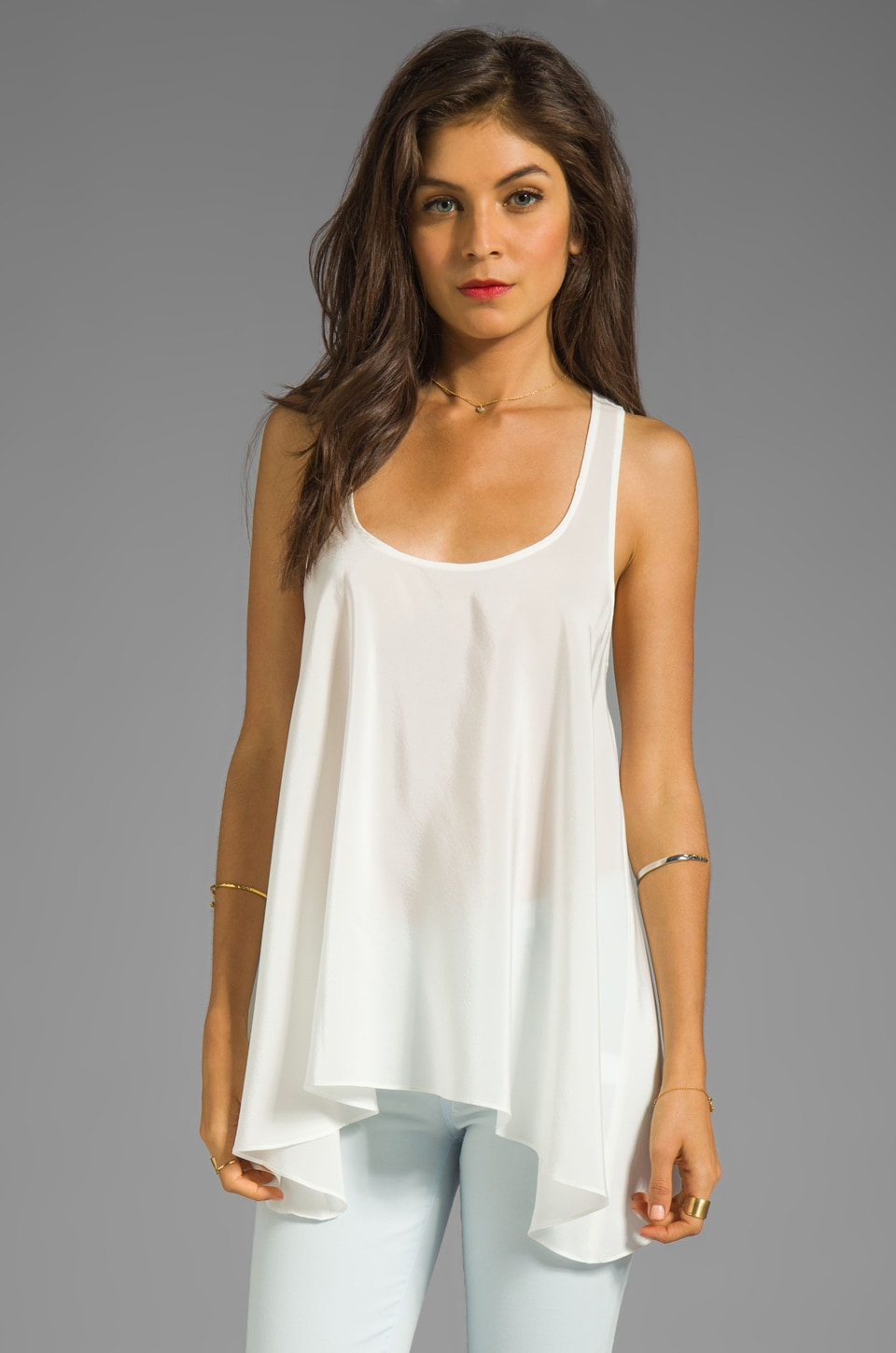 Amanda Uprichard Solid Silk Hampton Tank in Ivory