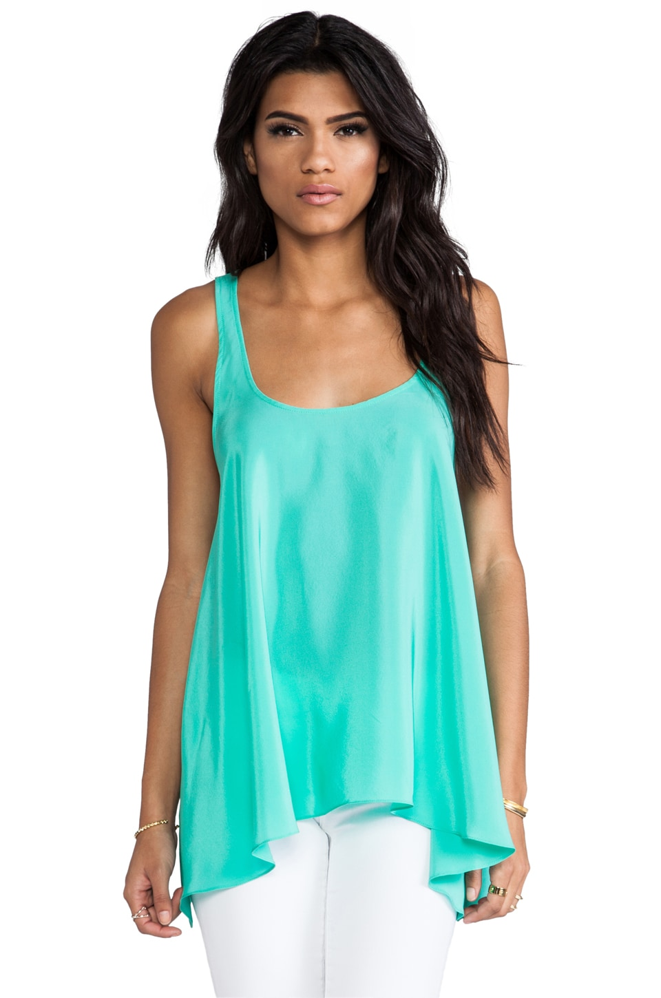 Amanda Uprichard Solid Silk Hampton Tank in Mint