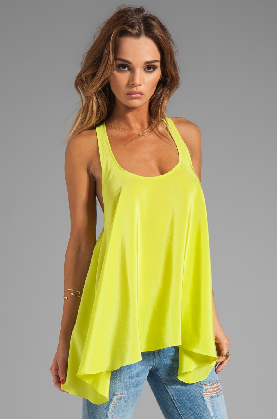 Amanda Uprichard Solid Silk Hampton Tank in Lime