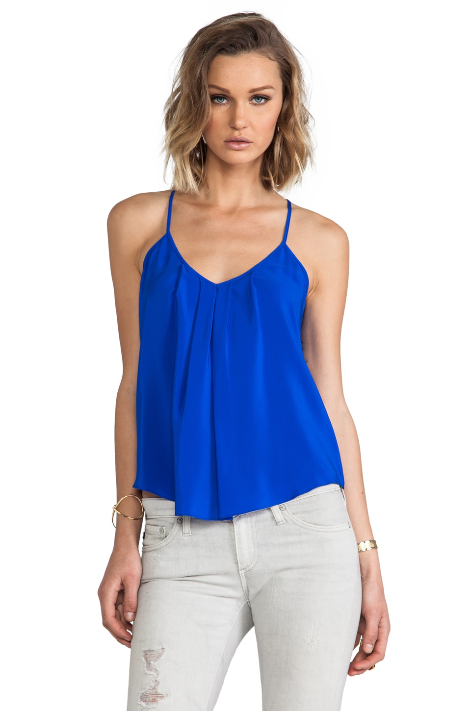 Amanda Uprichard Button Back Cami in Royal