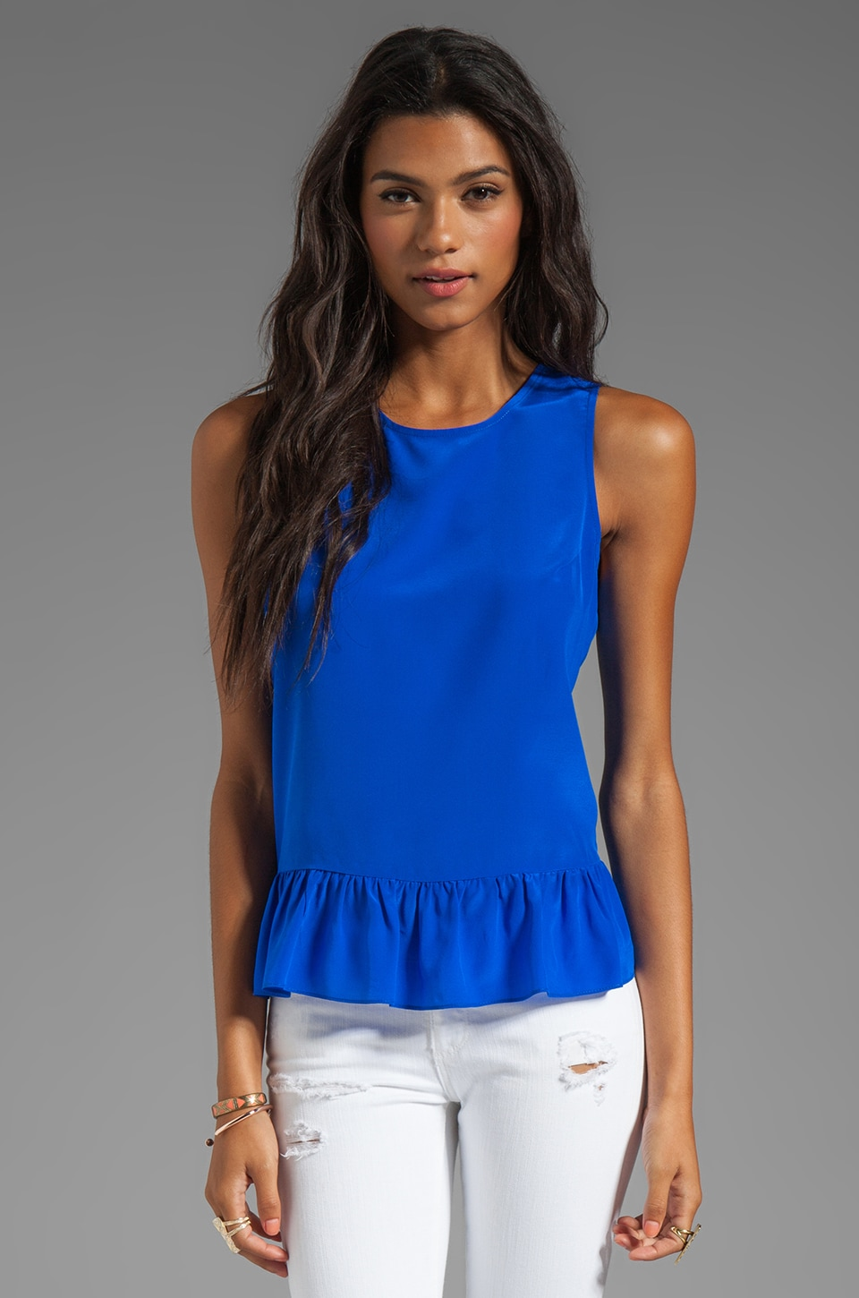 Amanda Uprichard Alyson Peplum Top in Royal