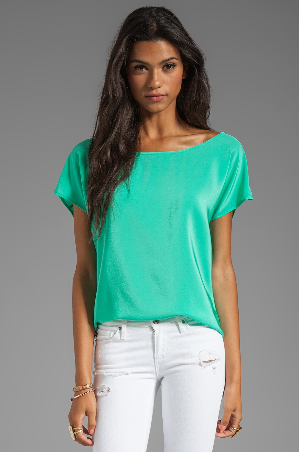 Amanda Uprichard Silk Short Sleeve Tee in Mint