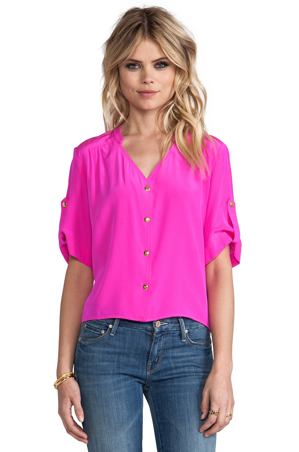 Amanda Uprichard Molly Top in Hot Pink