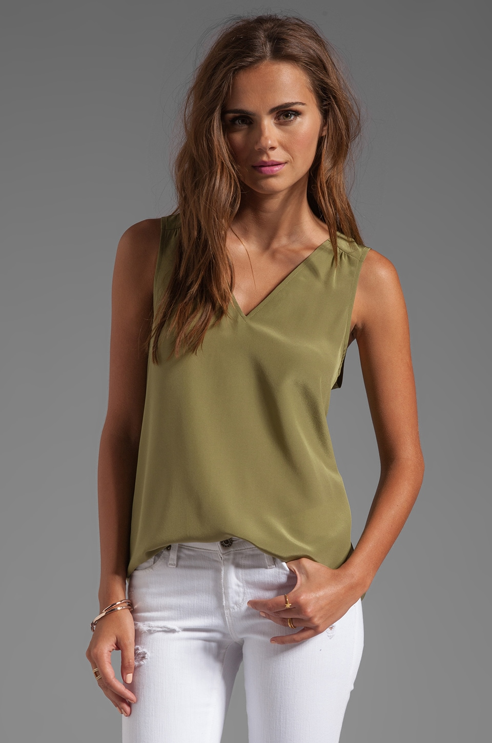 Amanda Uprichard Double V Top in Olive