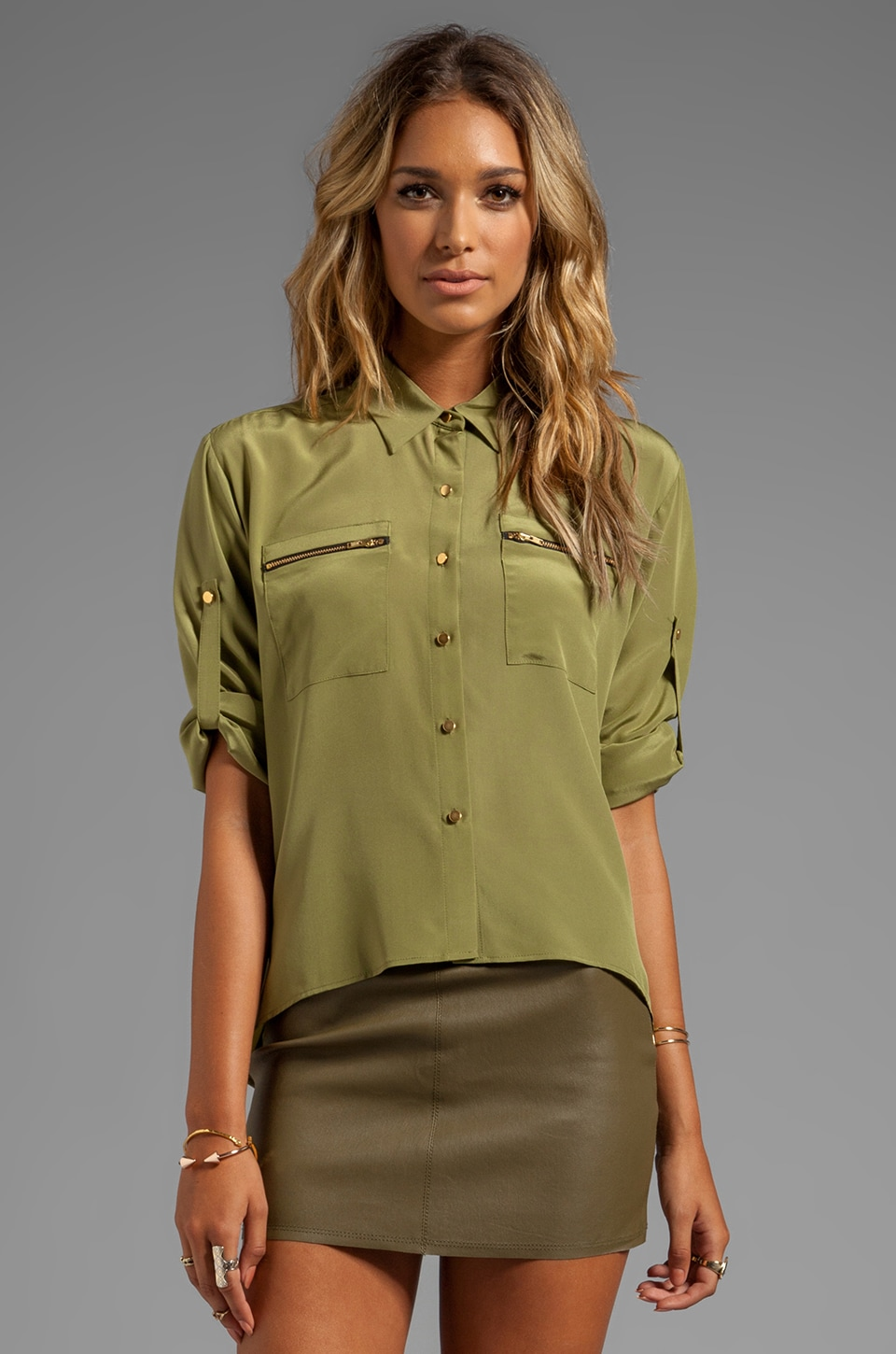Amanda Uprichard Zip Pocket Shirt in Olive