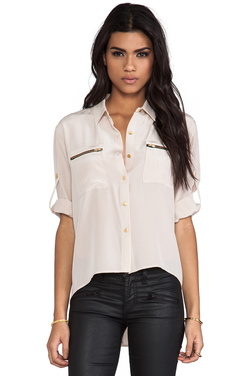 Amanda Uprichard Zip Pocket Shirt in Bone