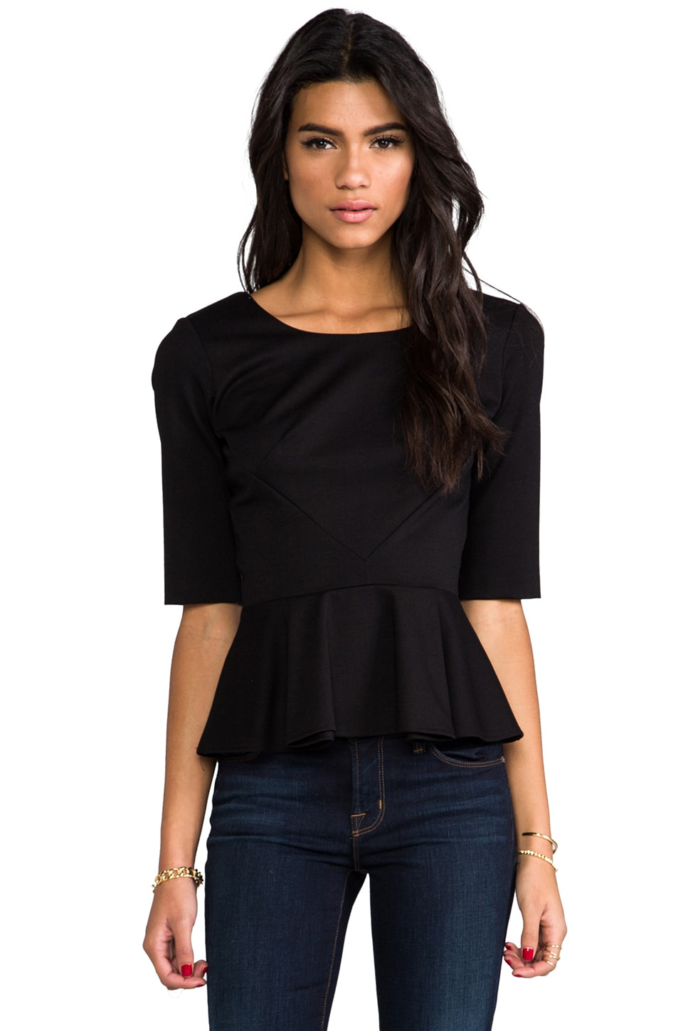 Amanda Uprichard Abbey Peplum Top in Black