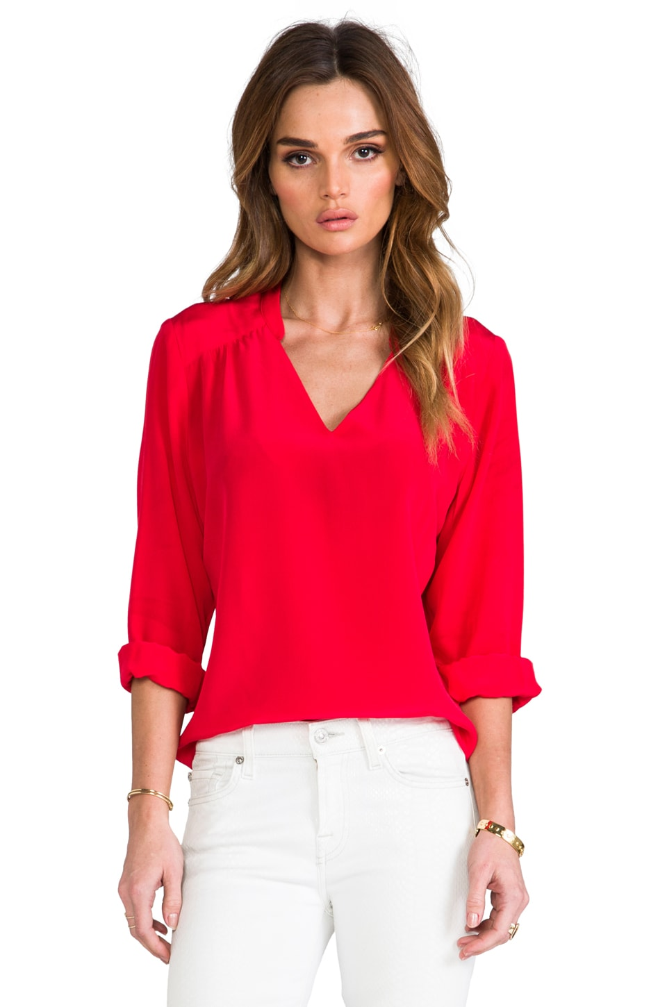 Amanda Uprichard Everyday Stacie Shirt in Red