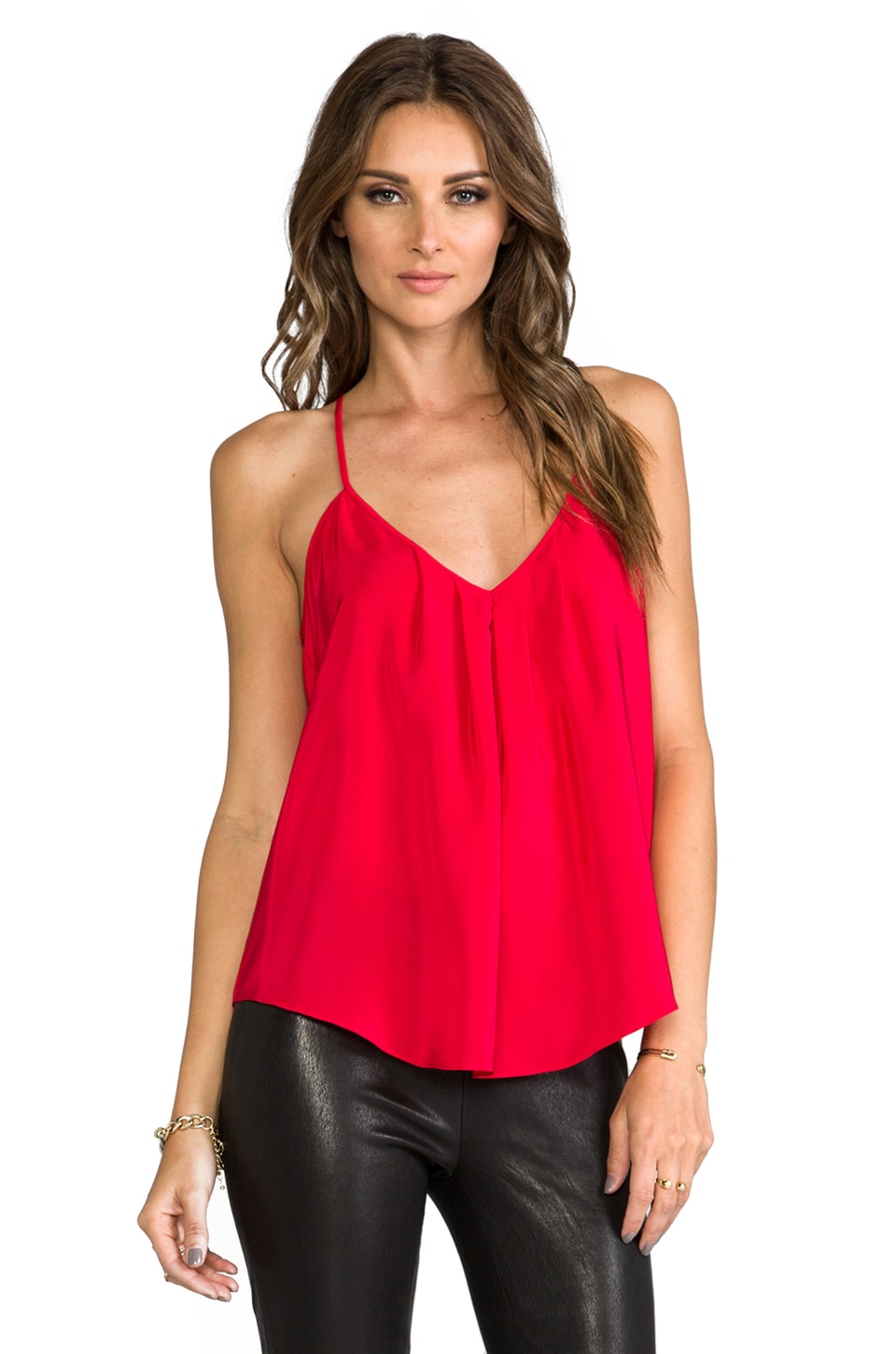 Amanda Uprichard Button Back Tank in Red