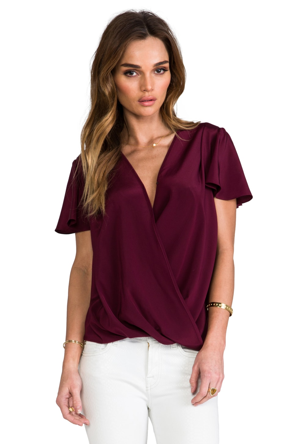 Amanda Uprichard Faye Top in Wine