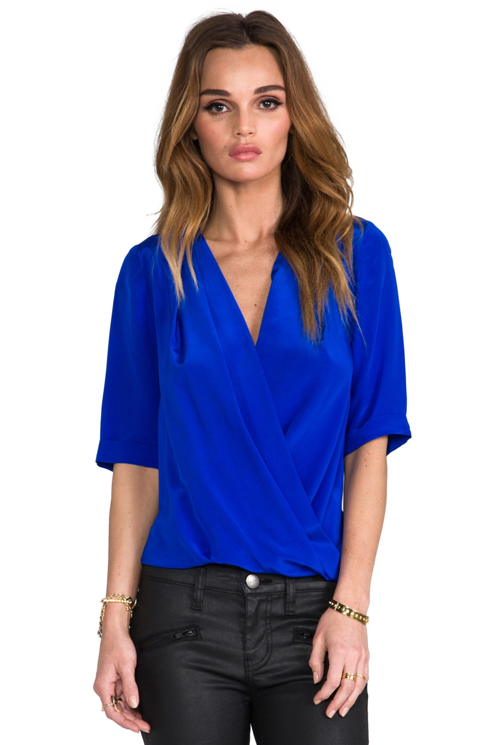 Amanda Uprichard Lana Drape Blouse in Royal