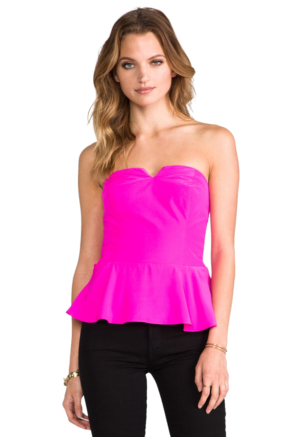 Amanda Uprichard Silk Strapless Harper Peplum Top in Hot Pink