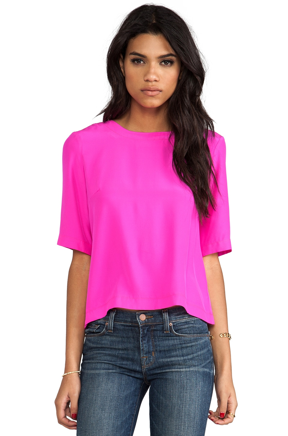 Amanda Uprichard Martina Zip Back Top in Hot Pink