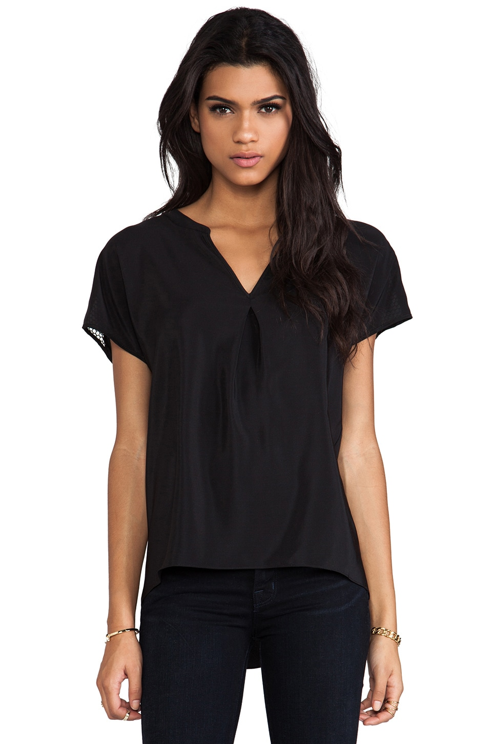 Amanda Uprichard Mesh Forever Tee in Black