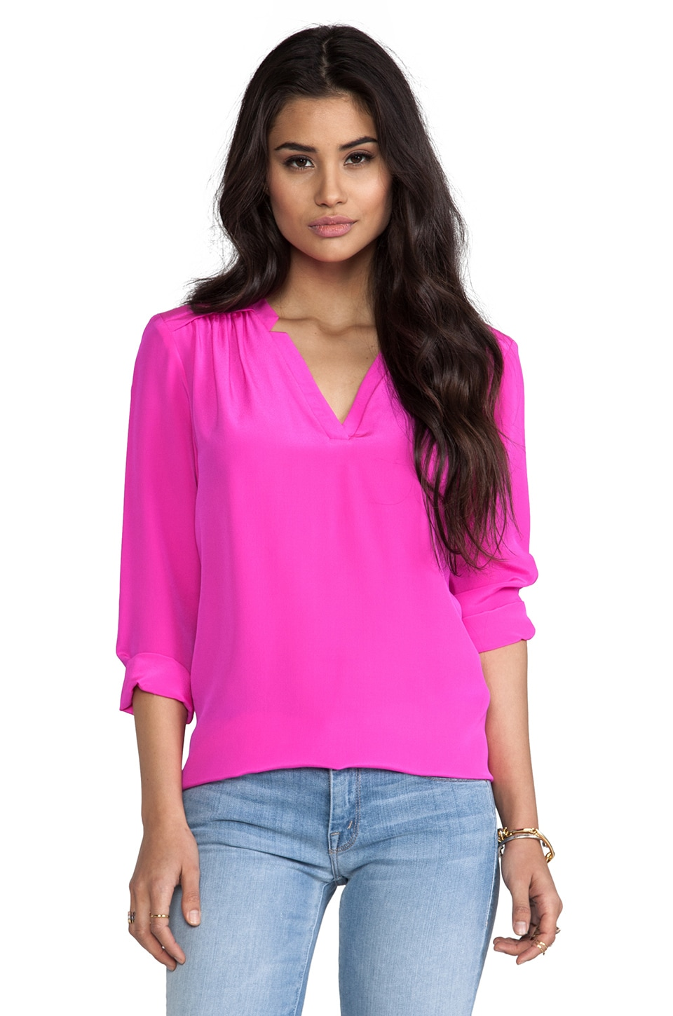 Amanda Uprichard Simon Blouse in Hot Pink
