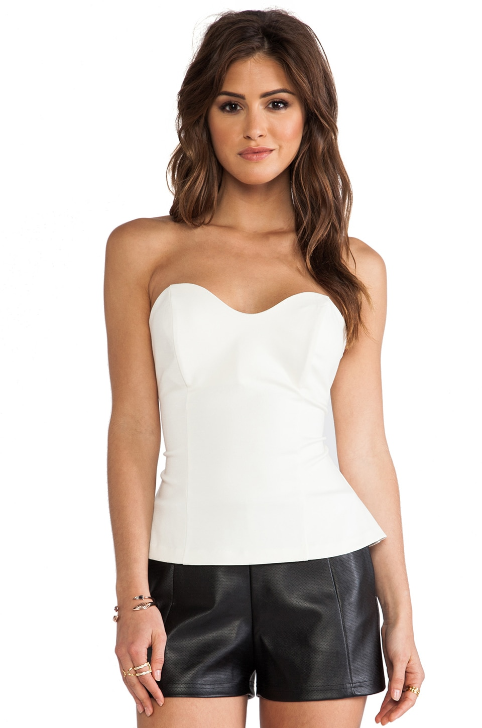 Amanda Uprichard Heart Bustier Top in Ivory