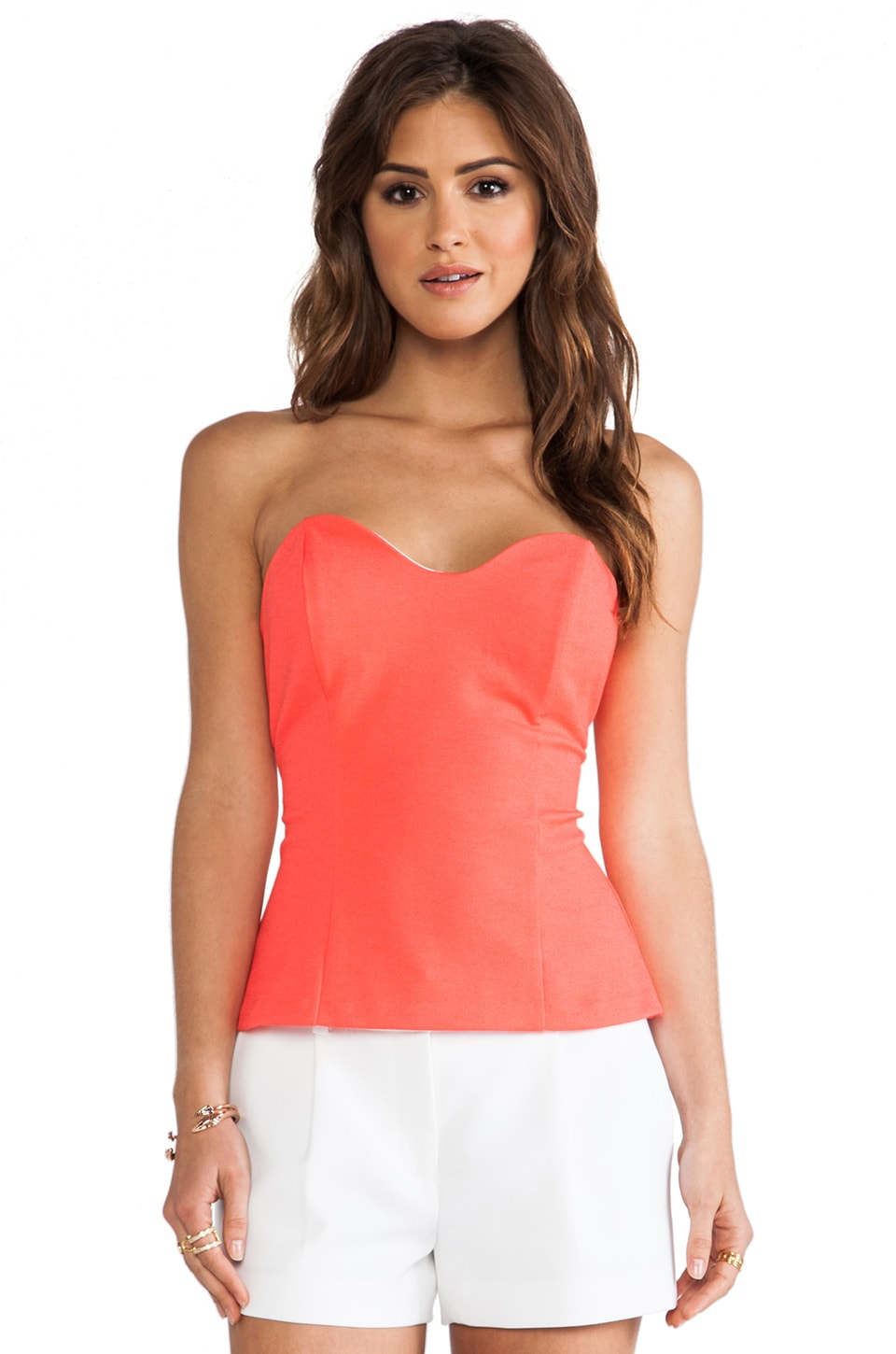 Amanda Uprichard Heart Bustier Top in Neon Orange