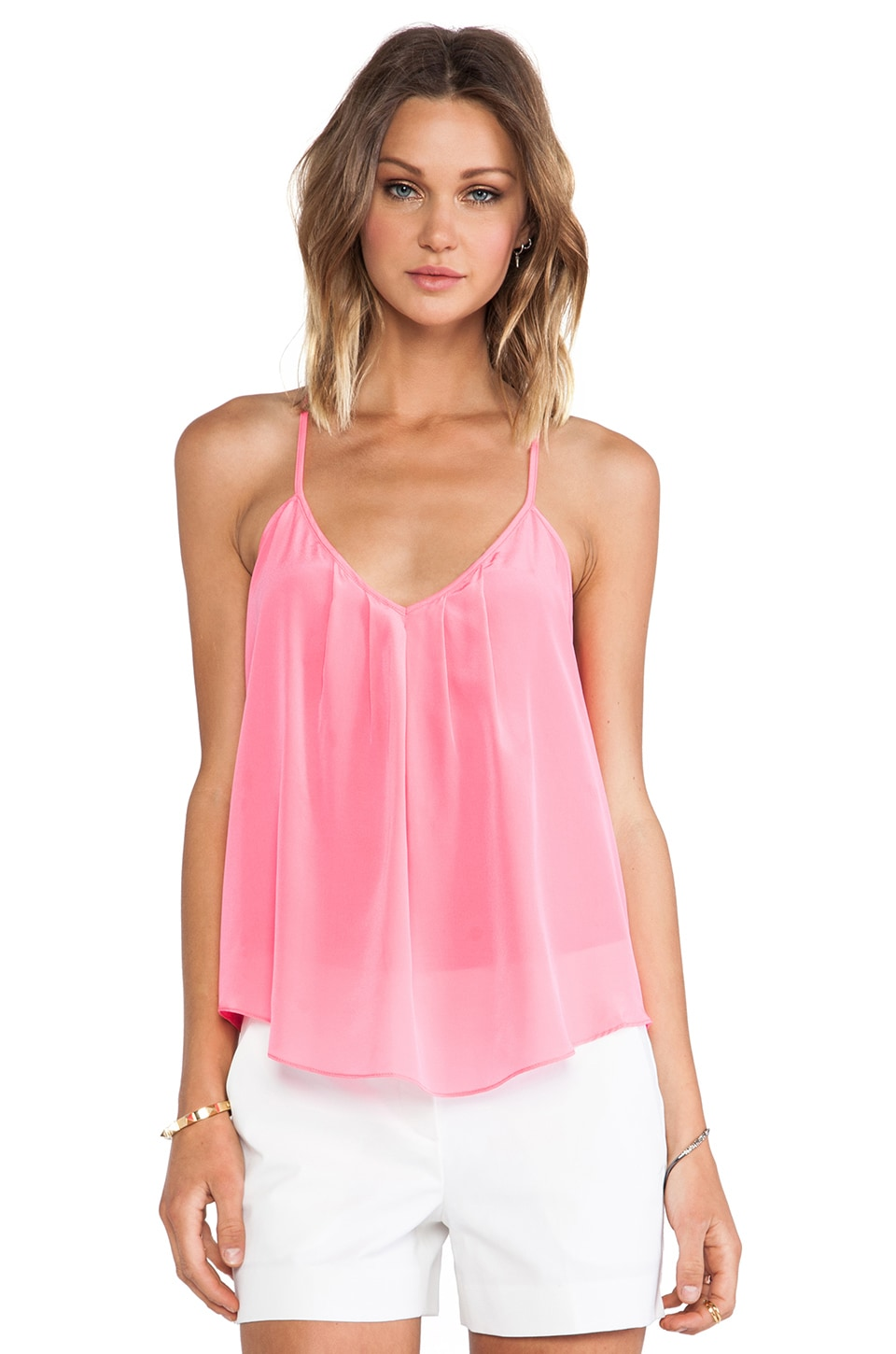 Amanda Uprichard Button Back Cami in Pink Ribbon