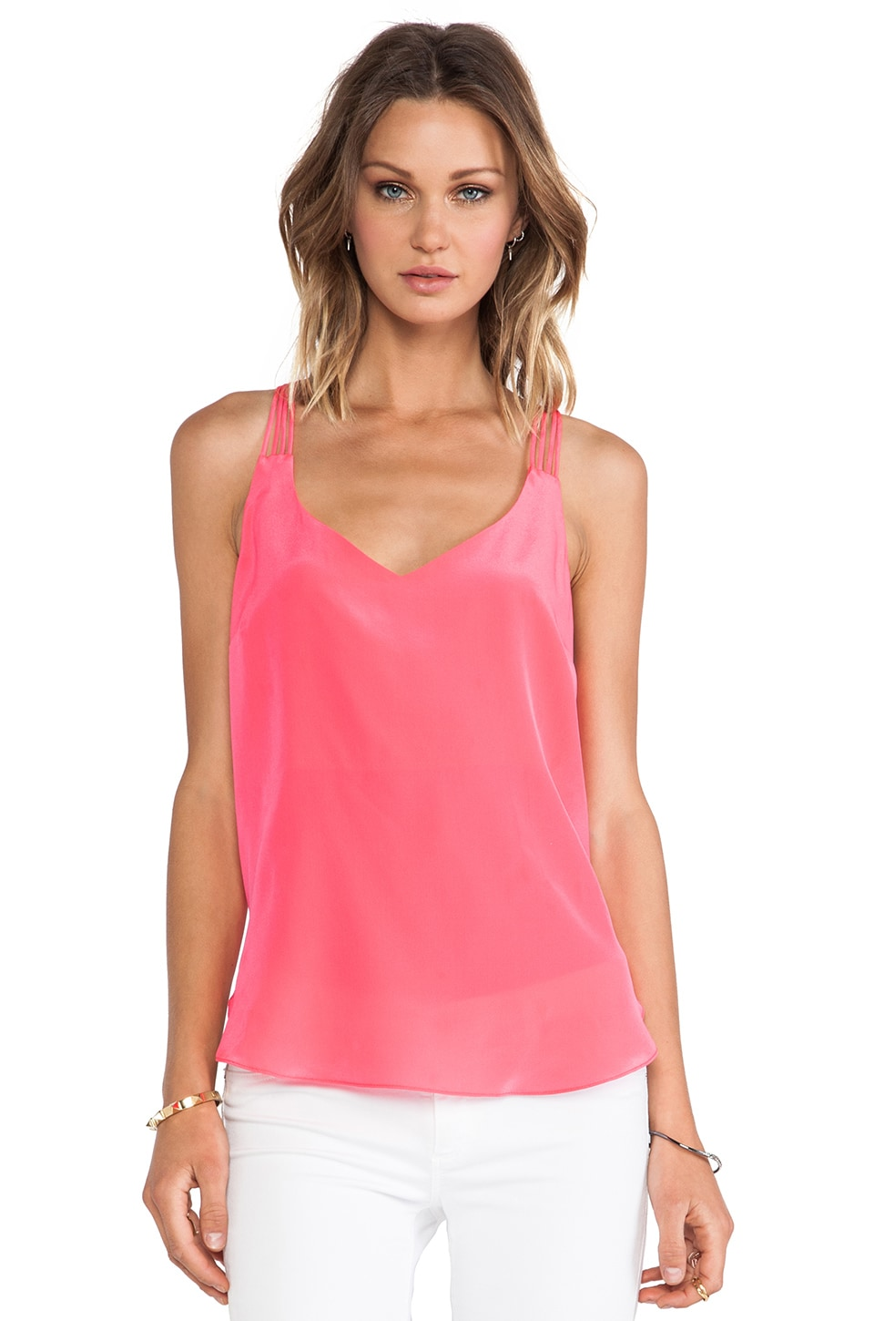 Amanda Uprichard Multi Strap Tank in Electric Rouge