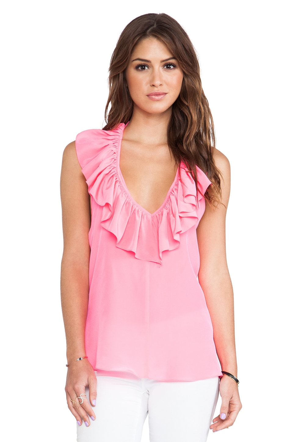 Amanda Uprichard Ruffle Halter Top in Pink Ribbon